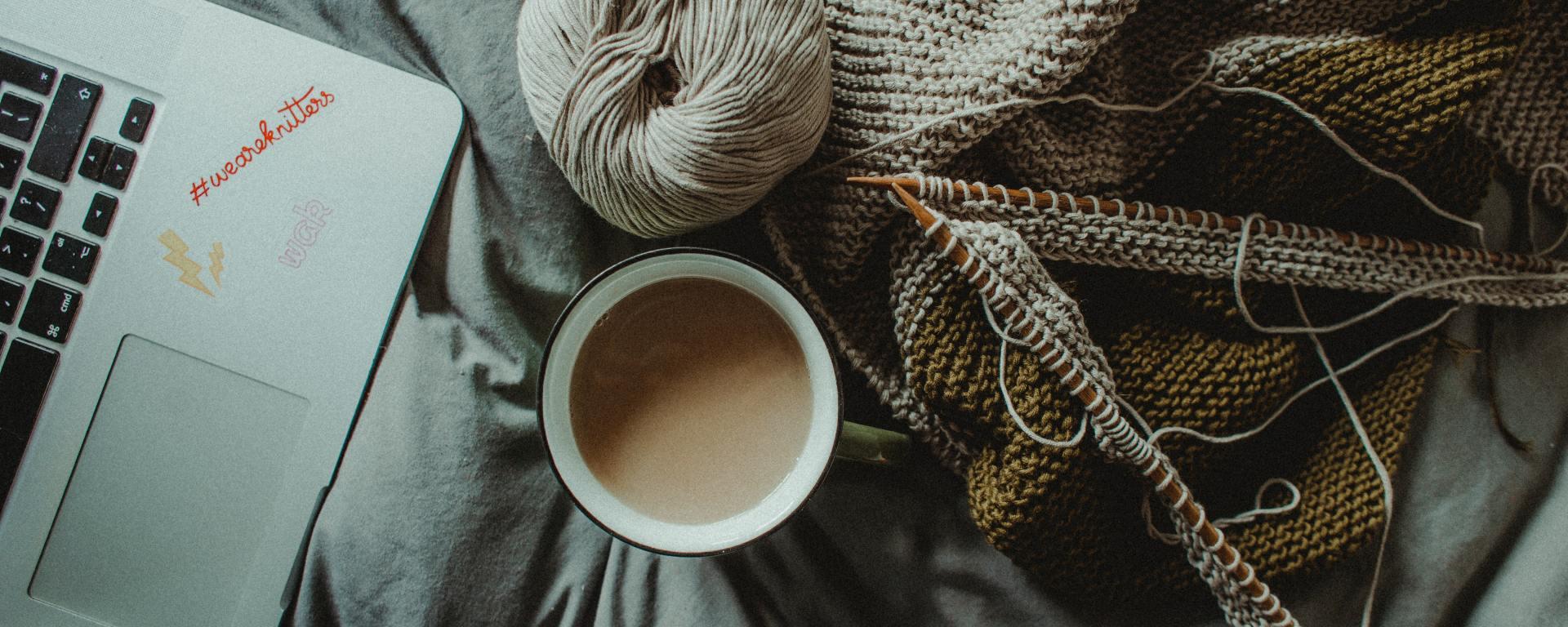 laptop, coffee, knitting