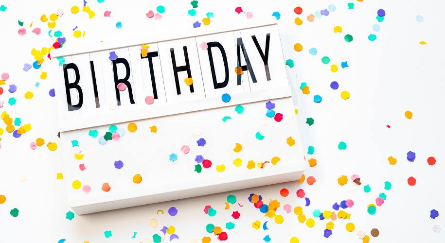 "white sign that reads ""birthday"" in black letters surrounded by colorful confetti on a white background"