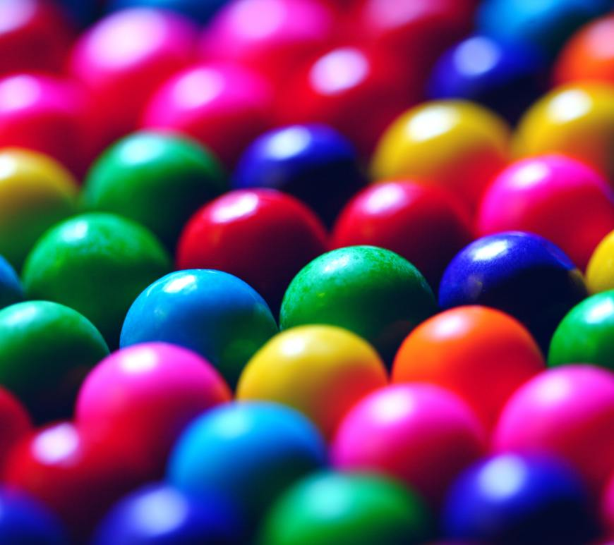 all different colored gumballs