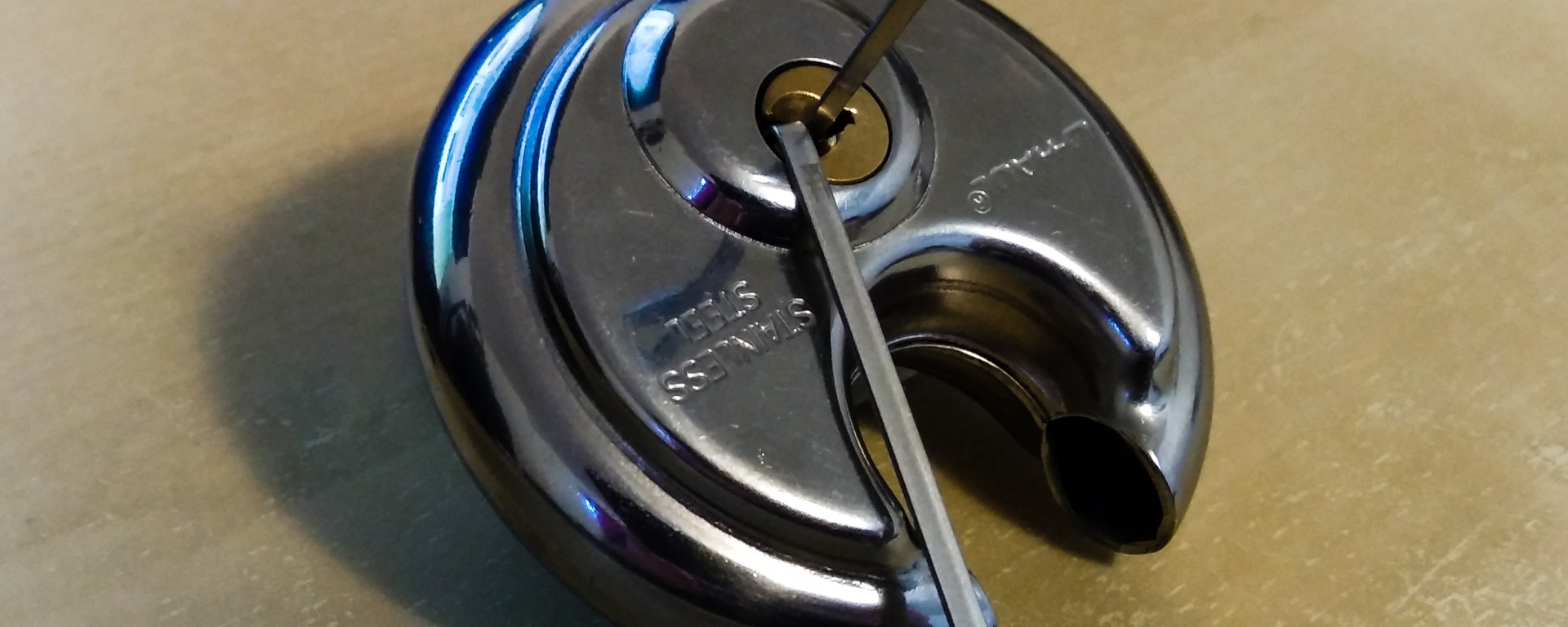 lock with pins inserted into opening